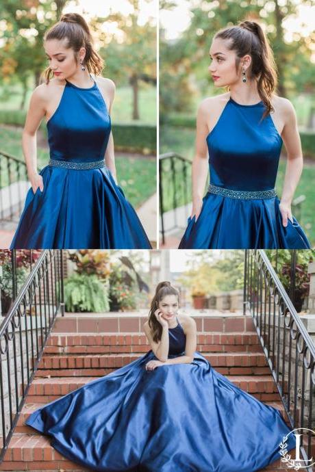 Royal Blue Satin Tie Halter Floor Length A-Line Prom Dress Featuring Beaded Embellished Belt