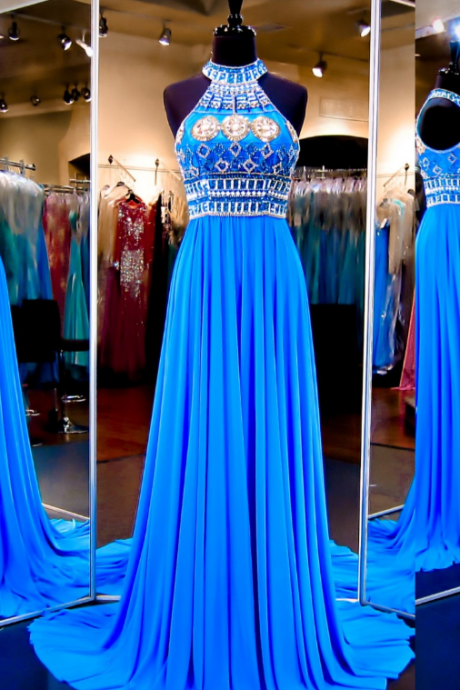 Royal Blue Beaded Embellished High Halter Neck Floor Length Chiffon A-Line Prom Dress Featuring Sweep Train