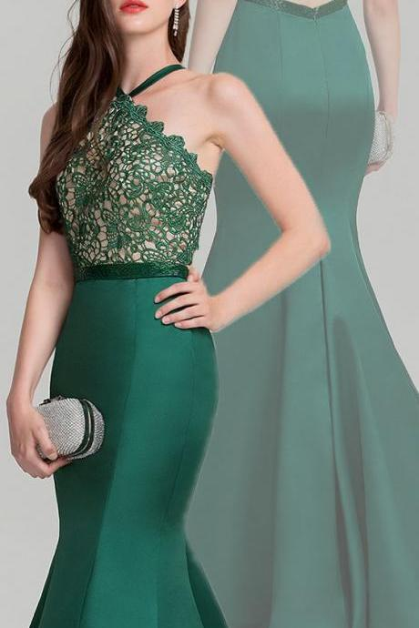 Elegant Mermaid Green Prom Dress,Halter Lace Evening Dress,Sleeveless Party Dress