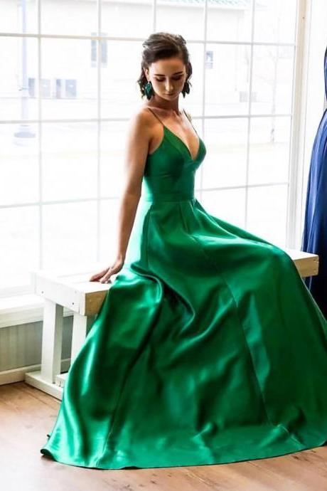 A-Line Spaghetti Straps Sweep Train Green Satin Prom Dresses