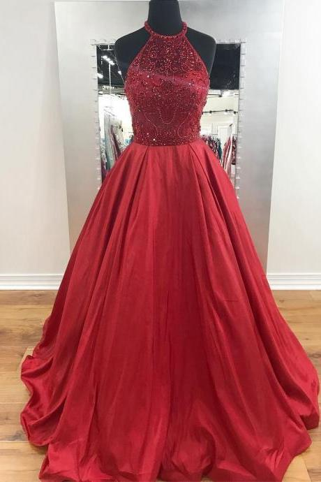 Red Satin Beaded Halter Prom Dresses Long A-line Evening Dresses Sexy Formal Gowns Party Graduation Dress for Women
