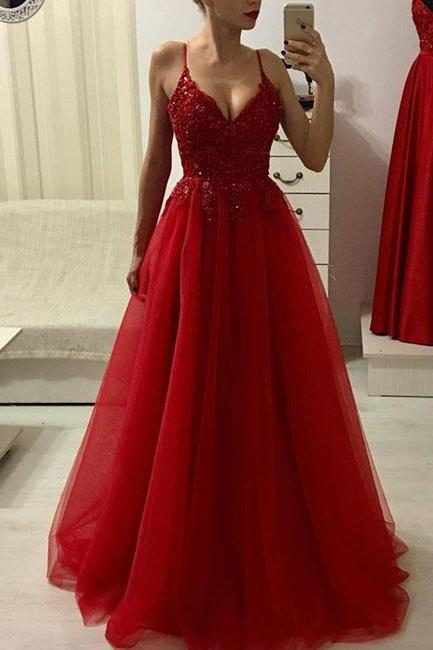 Red v neck lace tulle long prom dress, red evening dresses
