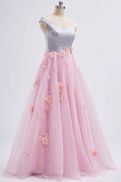 Pink tulle V neck ,long 3D lace appliqué ,spring prom dress, long graduation dress, Chic Long Prom Dresses ,2018 New Fashion