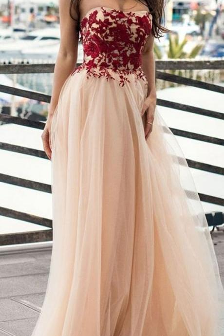 Unique Tulle Strapless Neckline ,A-line Prom Dress With Lace Appliques,custom made ,new fashion