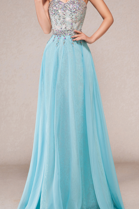 New Elegant Exquisite Sky Blue Prom Dresses,Floor Length Prom Dresses,Beaded Top with Chiffon Skirt Formal Party Gowns
