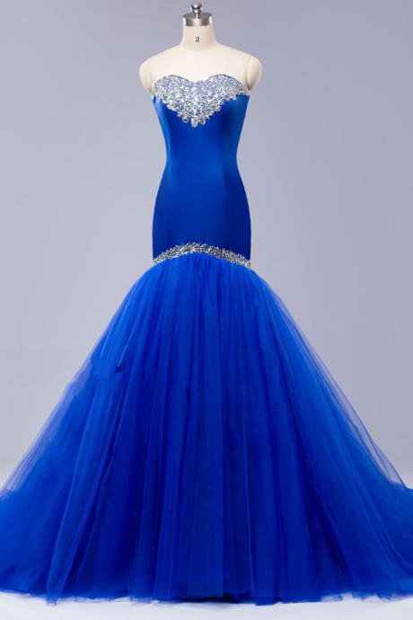 Blue Strapless Sweetheart Beaded Mermaid Long Prom Dress, Evening Dress with Train and Lace-Up Back