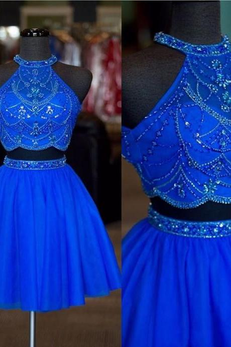 Halter Neck Two Pieces Short Homecoming Dress Graduation Dresses,Dance Dress Sweet 16 Dress