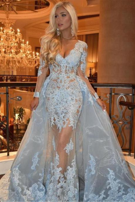 Mermaid V-Neck Long Sleeves Light Blue Organza Prom Dress with Appliques