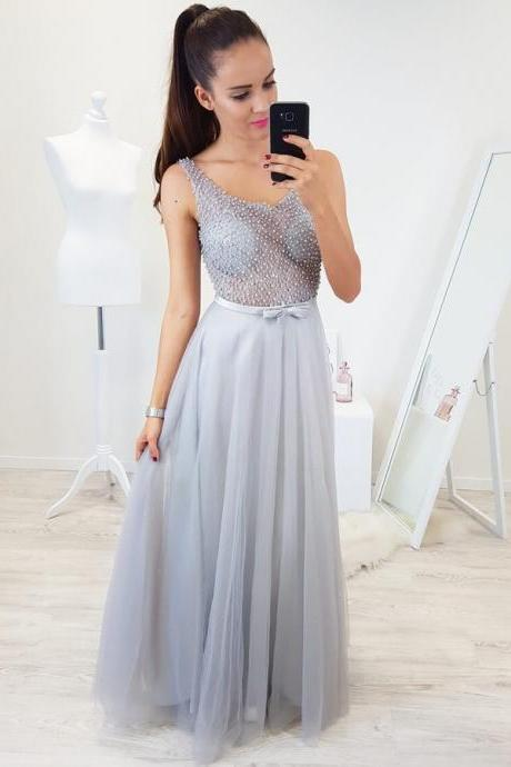 Scoop Neckline Light Grey Prom Dress with Beaded Illusion Bodice