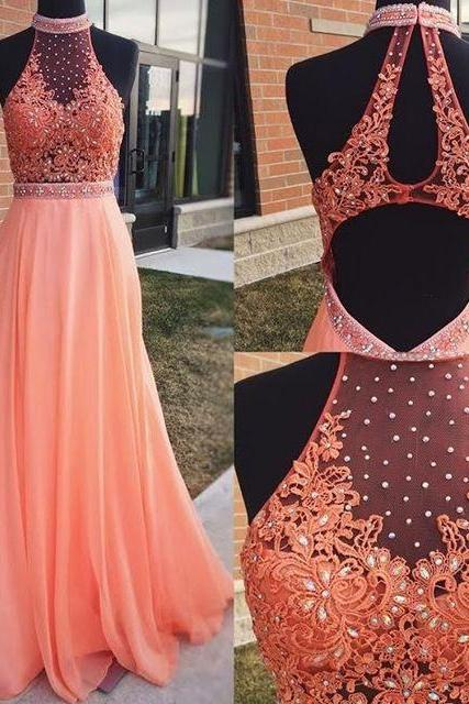Elegant Chiffon Long Prom Dresses with Beaded Lace Open Back for Women
