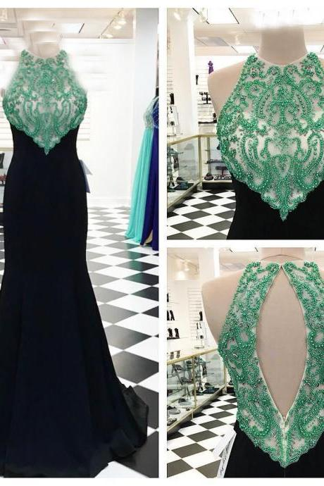 Elegant Black Chiffon Formal Dresses Sexy Beaded Mermaid Long Evening Dresses Real Photo Women Party Dresses Prom Gowns