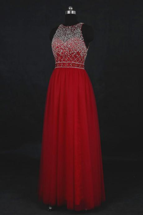 Red Beaded Prom Dresses , Sexy Backless Tulle A Line Evening Gowns - Formal Gowns, Party Dresses