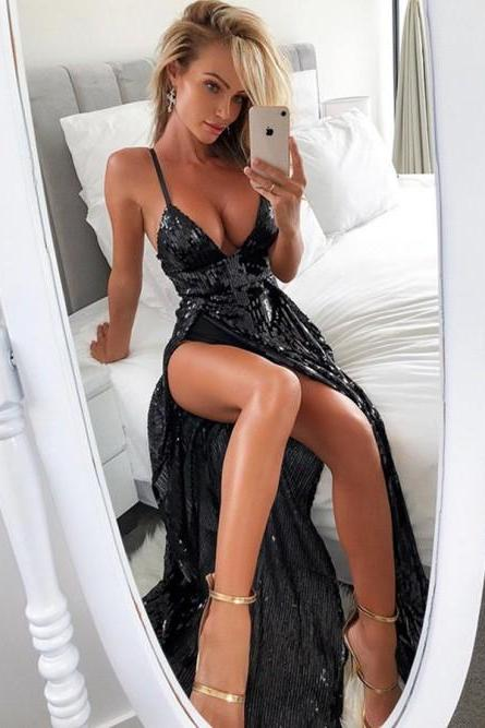 V Neck Black Sequin Maxi Dresses Sexy Prom Dresses