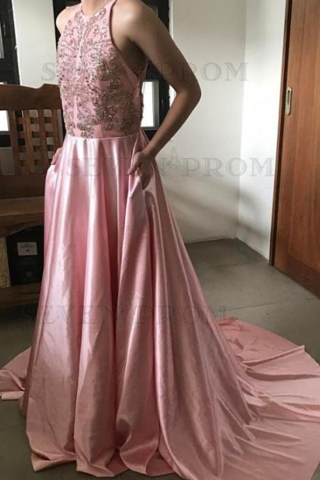 A-Line Jewel Sweep Train Prom Dresses, Pink Prom Dress with Criss- Cross Straps Beading Evening Dresses,Prom Dresses