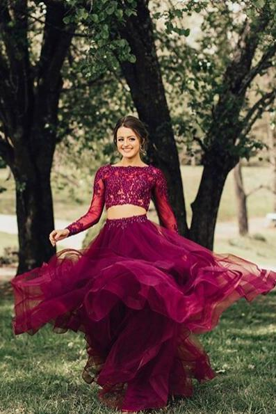Elegant Long Sleeve Applique Formal Prom Dress,Two Piece Purple A-Line Evening Gowns