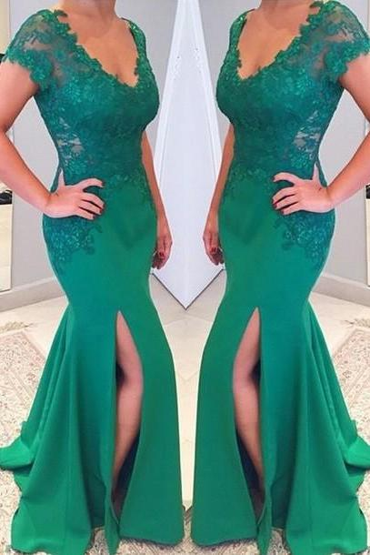 Green Evening Dress, Mermaid Evening Dress, Cap Sleeve Evening Dress, Lace Applique Evening Dress