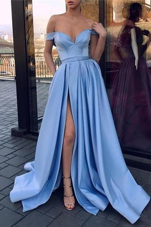 Sexy V-neck Off The Shoulder Long Satin Leg Split Evening Gowns,Sexy Formal Evening Dress,Custom Made,2018 New Fashion