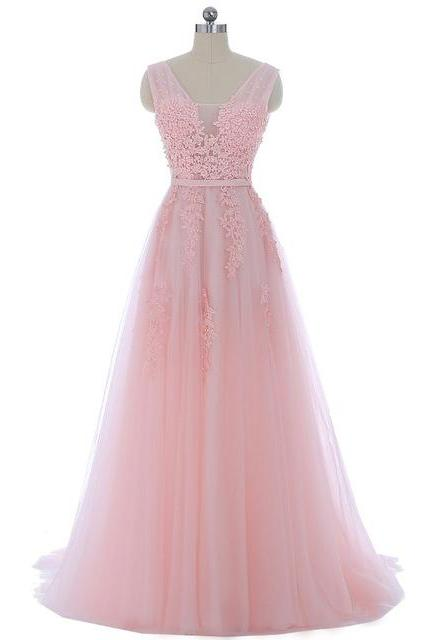 Long Pink Tulle Prom Dress With Lace Applique Bodice,Floor Length Party Dresses, Long A Line V Neck Prom Dresses