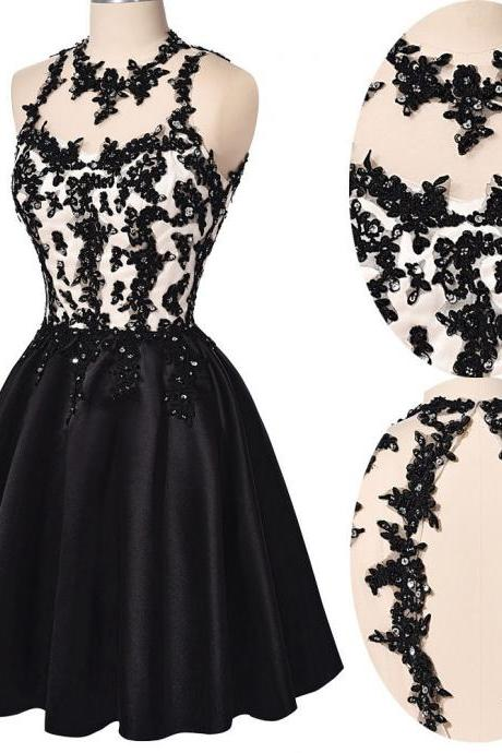 Beaded Embellished and Lace Appliques Halter Neck Black Short Satin Skater Homecoming Dress