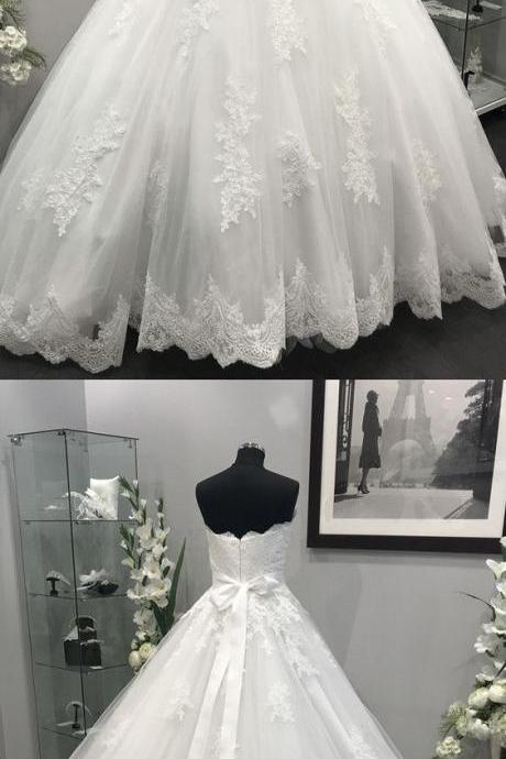 Lace Appliques Crystal Beaded Sashes Tulle Wedding Dresses Ball Gowns, Pricess White Lace Country Wedding Dresses, Women Wedding Gowns