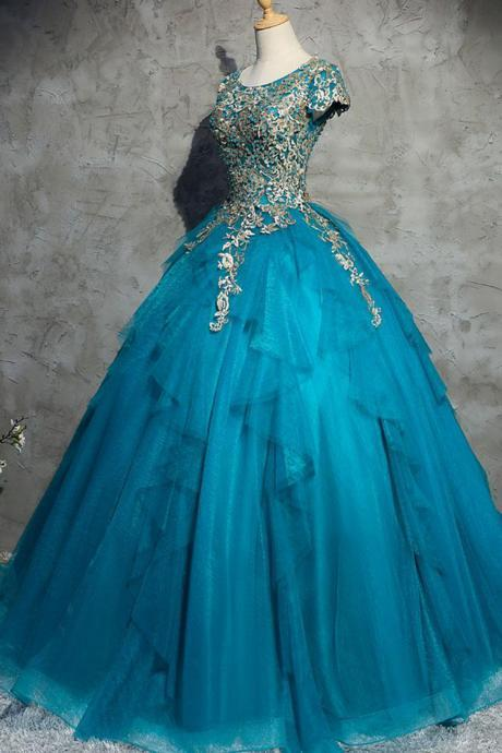 Unique blue tulle lace top round neck winter formal prom dresses, long evening dress with sleeves