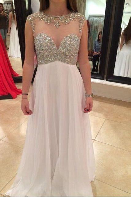 Elegant Sheer Neck Chiffon Long Prom Dresses with Beaded for Women