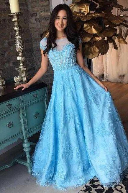 High Quality Cap Sleeves Sheer Neck Beading Long Prom Dresses Evevning Dresses for Women