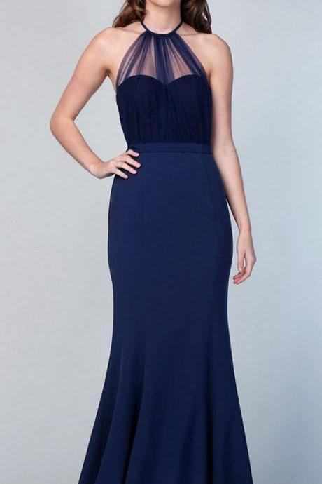 NEW! Amazing Tulle & Stretch Satin Halter Neckline Floor-length Mermaid Bridesmaid Dress With Belt