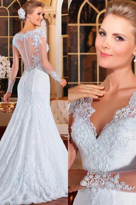White Long Sleeved Slim Wedding Dress with Illusion Back