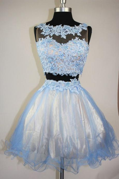 Charming Prom Dress,2 Pieces Homecoming Dress,Tulle Graduation Dress