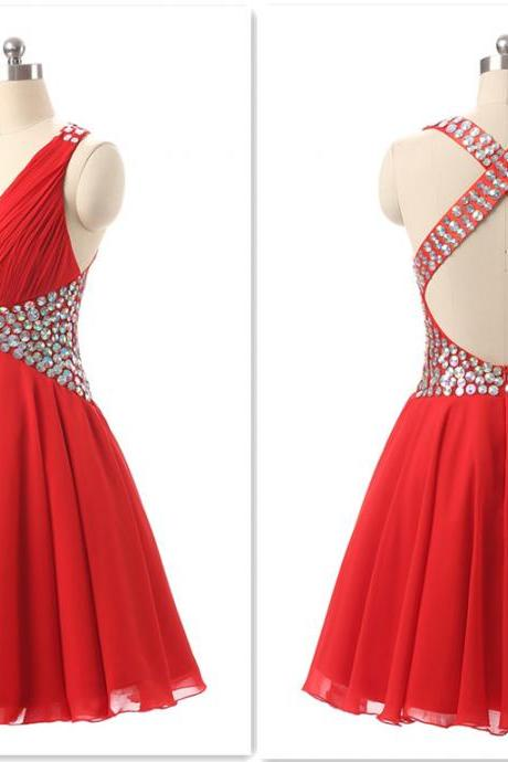 open back homecoming dresses, red homecoming dresses, mini homecoming dresses, deep-V neck homecoming dresses