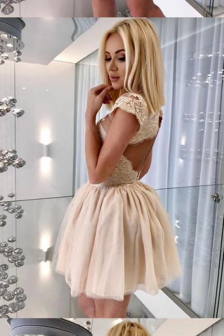 A-Line Jewel Cap Sleeves Open Back Short Champagne Homecoming Dress with Appliques