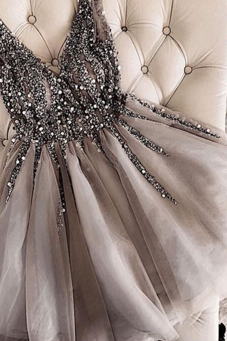 Gray V-Neck Beaded Tulle Homecoming Dress,Short A-Line Prom Dress,Sleeveless Beading Homecoming Gown