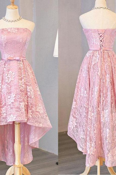 Customized A-line/Princess Party Prom Dresses Short Pink Dresses With Lace Up Bowknot High-Low Comely Homecoming Dresses