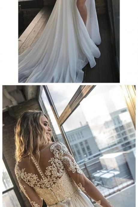 Beaded Ivory Beach Wedding Dresses See Through Long Sleeves Wedding Dresses