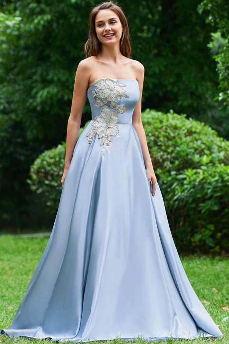 Dressv evening dress strapless a line sleeveless floor-length appliques beading wedding party formal dress evening dresses