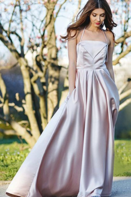 Fashion A Line Halter Champagne Satin Long Prom Evening Dress