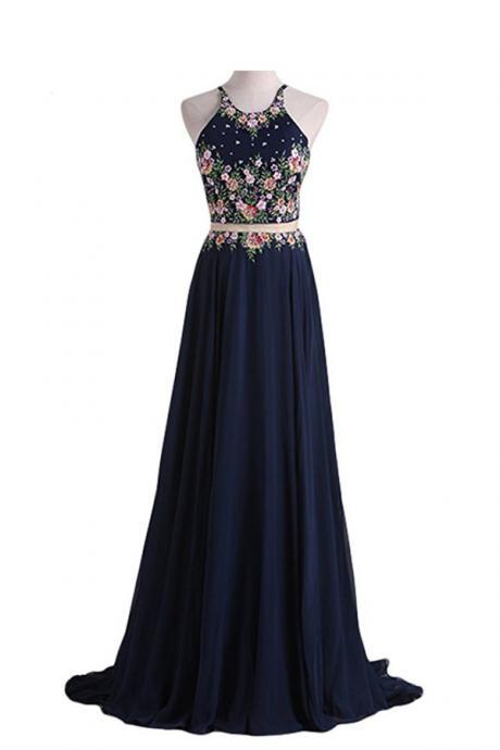BLUE, OPEN BACK, NAVY, TWO PIECES QPROM