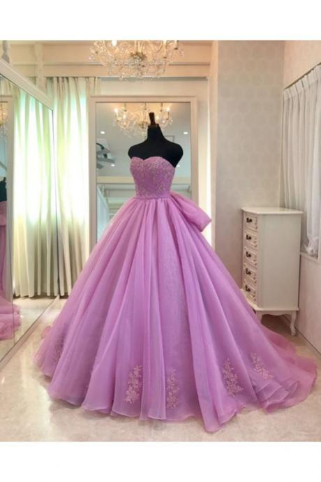 SWEETHEART NECK LAVERNDER TULLE FORMAL PROM GOWN, LONG EVENING DRESS WITH BOWKNOT QPROM