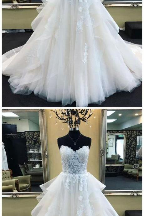 A-LINE SWEETHEART IVORY PROM DRESS WITH APPLIQUE PROM DRESSES LONG EVENING DRESS