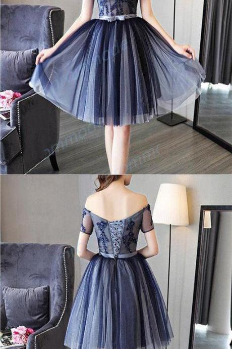 Attractive A-line Tulle Dark Blue Sleeveless Short Homecoming Dress With Beading