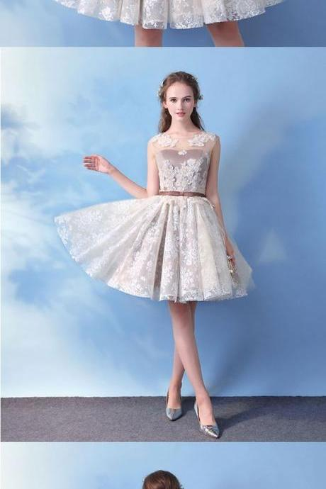 Cute round neck lace short prom dress, lace evening dress