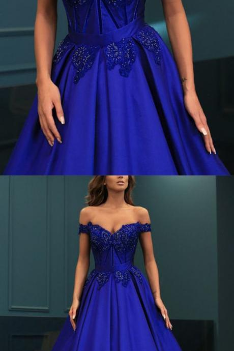 Ball Gowns Prom Dresses Lace Beaded V-neck Off Shoulder