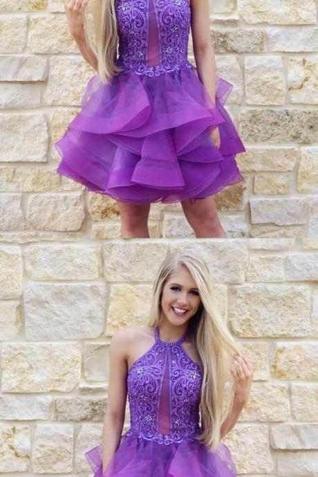 A-Line Jewel Purple Tulle Homecoming Dress with Lace Beading