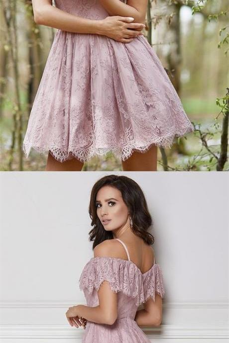 Cute A Line Off the Shoulder Open Back Blush Lace Short Homecoming dresses, Elegant Short Prom Dresses