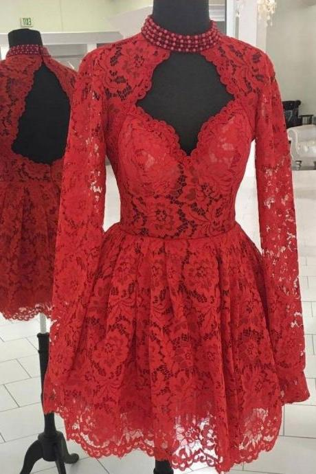 CHIC A-LINE HIGH NECK LONG SLEEVE HOMECOMING DRESS RED LACE SHORT PROM DRESS