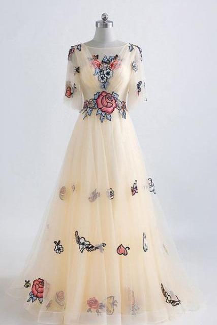 Champagne Floral Print Lace Appliques Floor Length Prom Dress