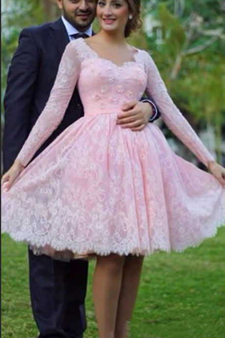 Cheap homecoming,Sweetheart Pink Long Sleeve Homecoming Dresses Knee-Length Lace Lovely Girls Graduation Gowns Flower dresses