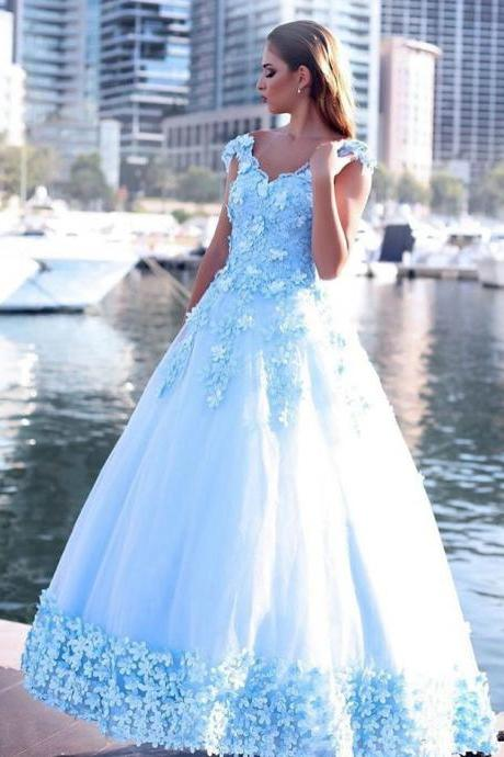 Iace Blue Flowers Edge Prom Dresses Ball Gown,Off the Shoulder Sweep Train Engagement Gown,
