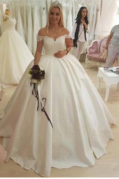 Ball Gown Off the Shoulder Bridal Dresses,Satin Bridal Dresses with Lace Appliques